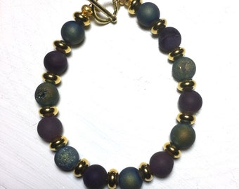 Blue Green and Rainbow Druzy and Gold Rondelle Beaded Bracelet
