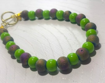 Rainbow Druzy and Green Beaded Bracelet