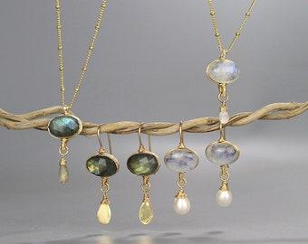 Statement Gemstone Necklace and Earrings Set, Amethyst Labradorite Moonstone