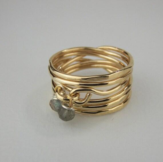 Labradoritring Draht umwickelt Ring Gold gefüllt Ring   Etsy