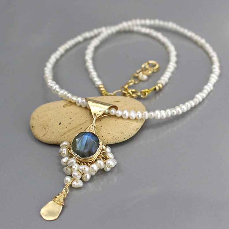 Bridal Statement Necklace Pearl Necklace Gift Labradorite image 0