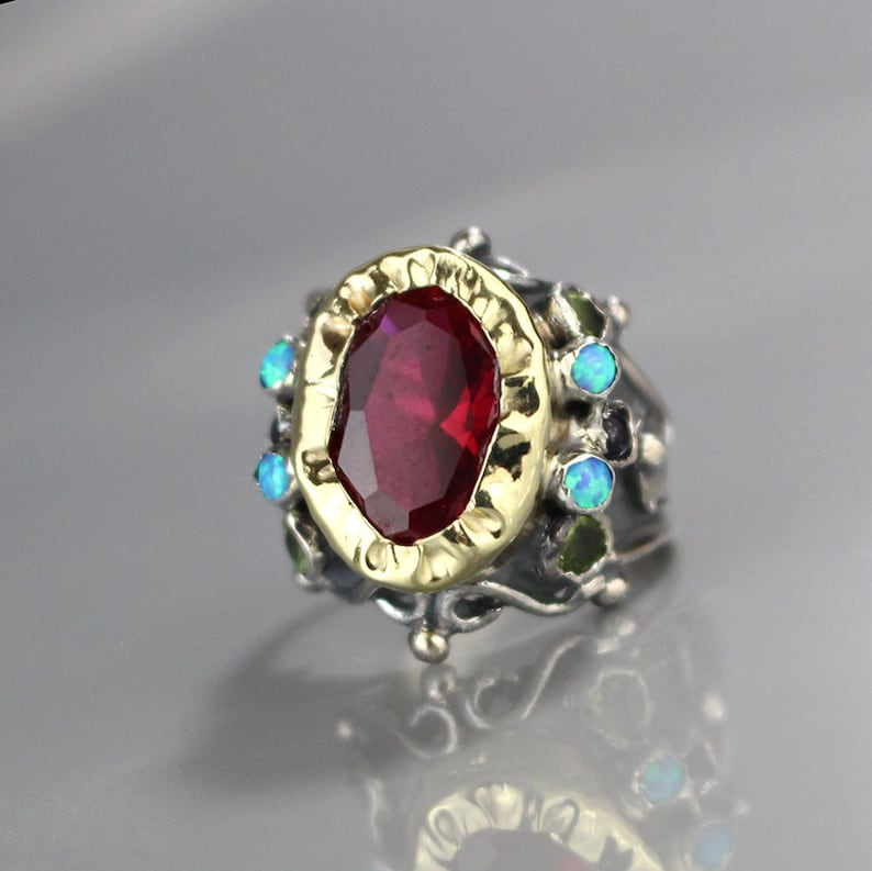 The Best 9k Solid Rose Gold Ring Labradorite Ring Ruby Ring Mixed Stone Ring Unique Ring Fine Rings