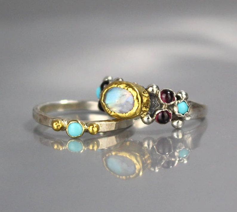 Turquoise Wedding Ring Set Turquoise Ring Stacking Rings image 0