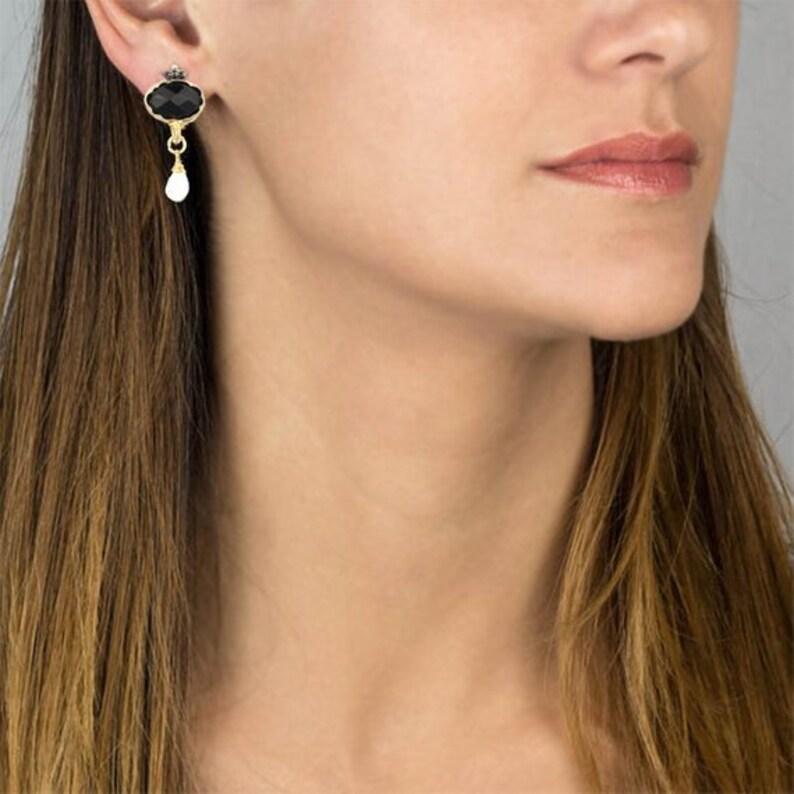 Black Onyx Clip-On Dangle Earrings