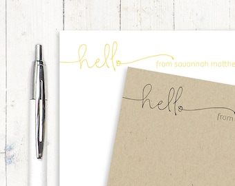 personalized notePAD - HELLO HANDWRITING - stationery - stationary - fun notes - letter writing paper - modern notepad