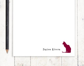 personalized notePAD - CAT - stationary - cat lover stationery - letter writing paper - choose color