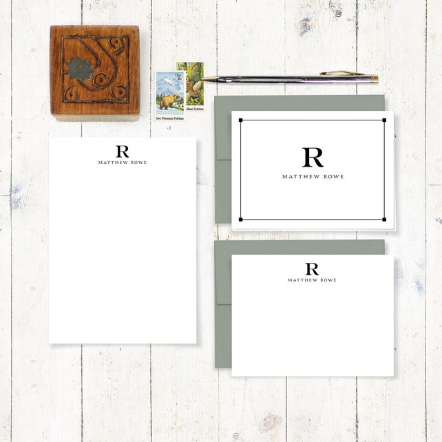 personalized stationery set - PROFESSIONAL MONOGRAM - notepad and notecard stationary set - monogram stationary - business - monogrammed