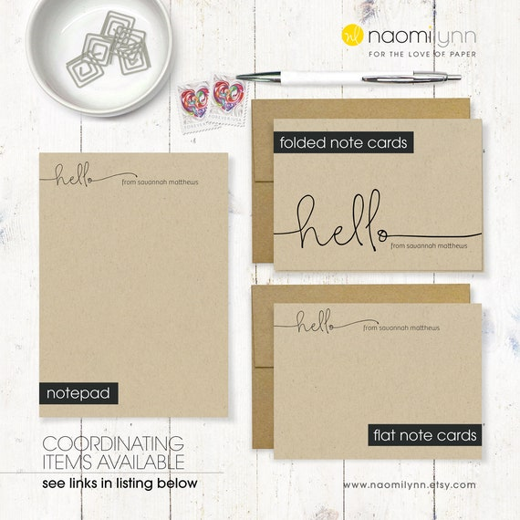 HANDWRITING HELLO set of 12 flat note cards personalized note card set stationery fun note cards customized stationary