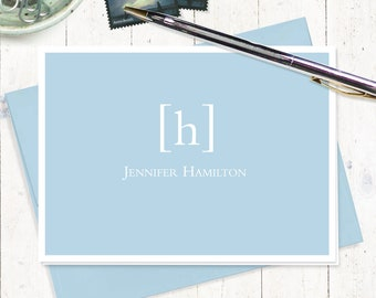 personalized note cards stationery set - SIMPLY CLASSIC MONOGRAM - set of 8 folded note cards - stationary - monogrammed
