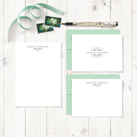 complete personalized stationery set - EMBELLISHED DISTINGUISHED NAME  - personalized stationary set - note cards - notepad - traditional