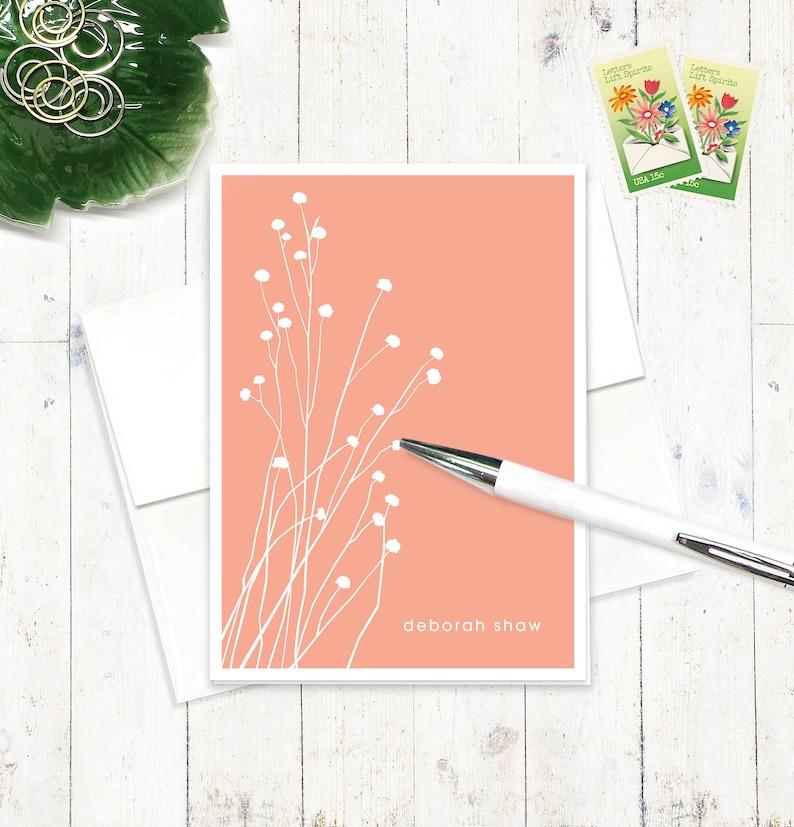 personalized stationery set  BOTANICAL DAINTY FLOWERS  set image 0