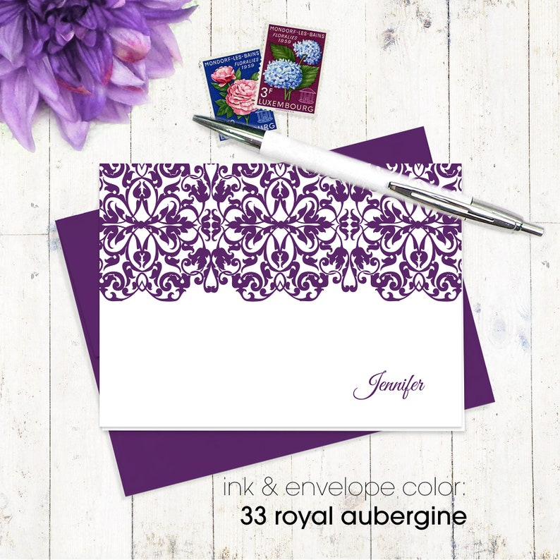 classic notecard set of 8 folded note cards personalized stationery set gift for her womens notecards LACY EDGE fancy stationary