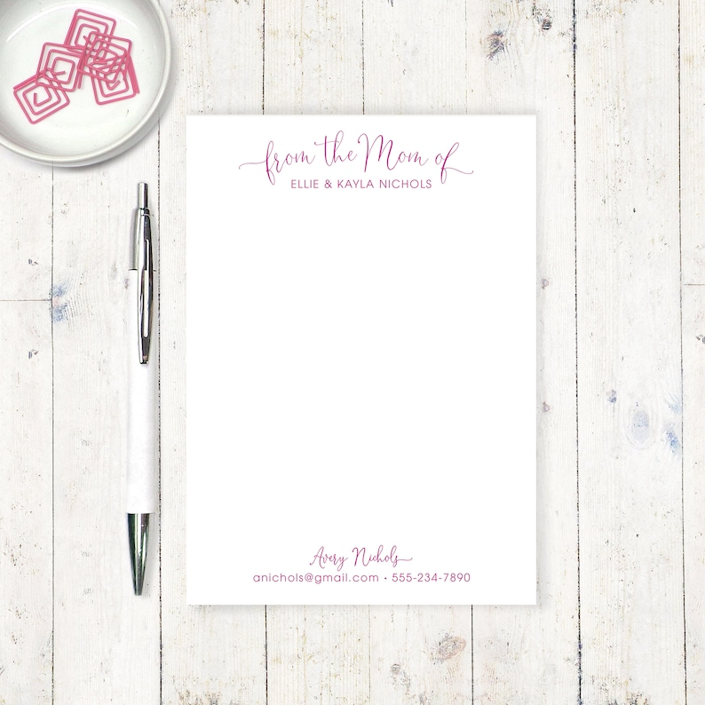 personalized notePAD - STYLISH from the MOM of - note from mom - modern  social stationery - classic stationary - note to teacher