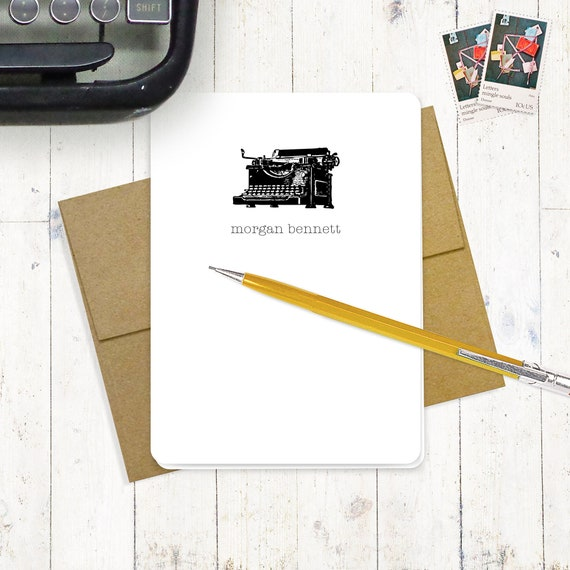 personalized note cards stationery set - VINTAGE TYPEWRITER - set of 8 folded note cards - personalized stationary - choose color