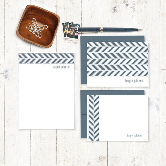 complete personalized stationery set - HERRINGBONE CHEVRON - modern stationary - note cards - note pad - choose ink and envelope color