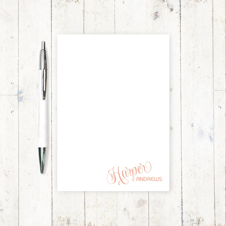 personalized notePAD - FUN SCRIPT NAME - stationery - stationary - fun girl  notepad - letter writing paper - modern notepad - 50 sheet pad