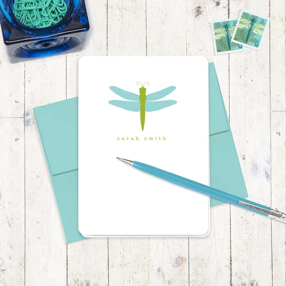 personalized stationery set - DRAGONFLY - set of 8 folded note cards - nature lover cards - gift for girl - gift for boy - personalized gift