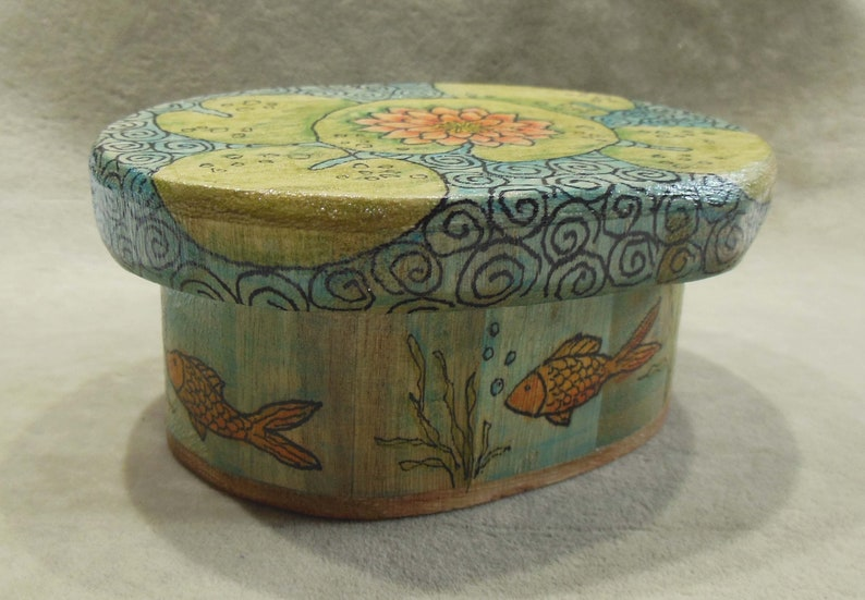 Free Shipping Oval Wood  Box Original Hand Painted Graphics of a Lily Pad Fish Pond Unique Home Decor Gift