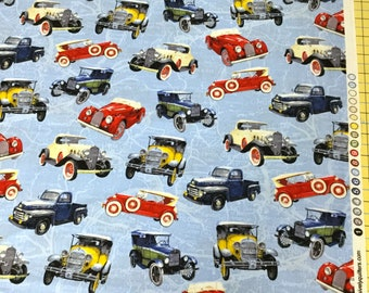 Fabric Exclusively Quilters Antique Cars tossed on a blue map background 20s 30s vintage cars