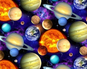 Fabric Elizabeth Studio's In Space Planets celestial - Black - 1331 - 100% Cotton