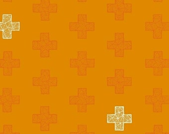 Fabric Windham Good Vibes only tone on tone  Bright orange coordinate 51102-6  plus cross modern quilting fabric