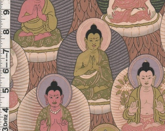 Fabric Henry BUDDHA Seated Buddha Buddhist mauve green out of print