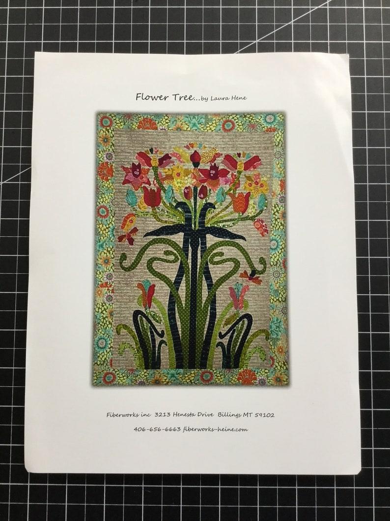 paper pattern Laura Heine Flower Tree Art Nouveau style  Applique quilt collage pattern Pattern