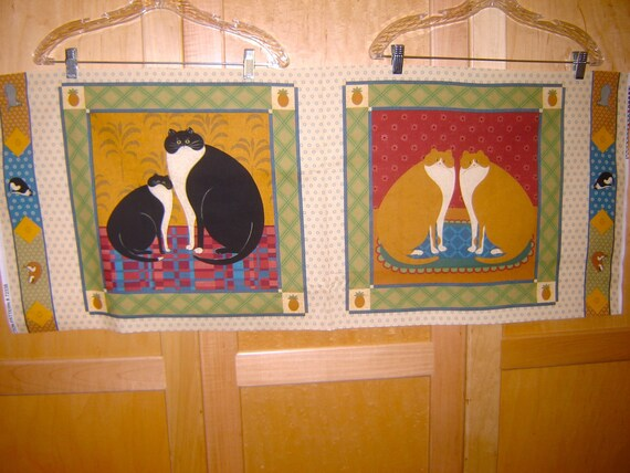 Tissu Vip Cat Gallery Primitive Folk Art Style Cats Portraits Pineapples Colonial Bienvenue Icone Artiste Warren Kimble Rare Panel