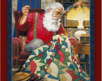 Fabric Santa Claus making a cozy Quilt Christmas PANEL Charming Holiday themed sewing quilting