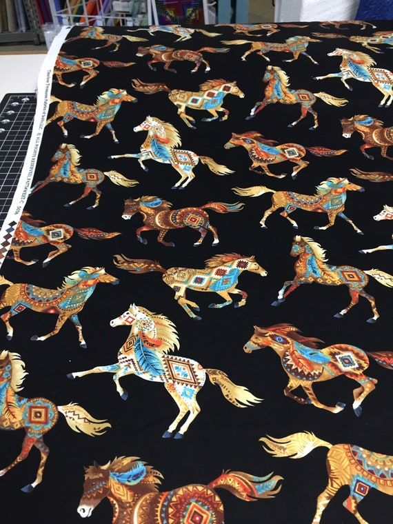 Fat Quarter Southwest Horses Painted Ponies Brite Cotton Quilting Fabric