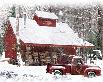 Fabric - Hoffman Snow Home for the Holidays Digital PANEL T4857H-307 Log Cabin Winter Cordwood Red pickup truck Christmas Woods Country home