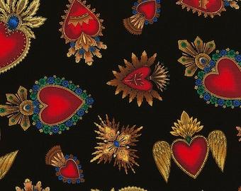 Fabric - Timeless Treasures - Sacred Heart C6620 w/ black background Mexican/Corazones/Catholic/religious/ milagros