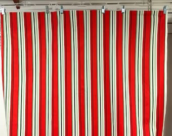 Fabric Timeless Fresh Cut Poppies Awning Stripe red greens black on white lengthwise stripe C4731-Red