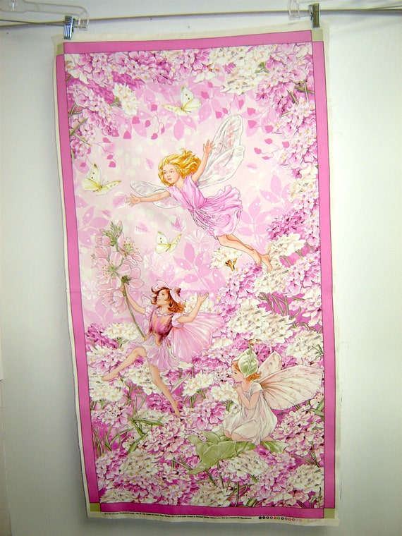 Dusk Flower Fairies Panel Border 100/% Cotton Sewing Fabric Large Pink
