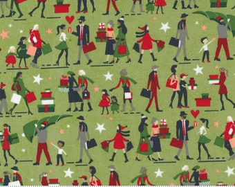 Fabric - Moda Fabrics - Hustle and Bustle 30661 16 Pear Christmas Holiday Shopping  people gift giving theme by Basic Grey