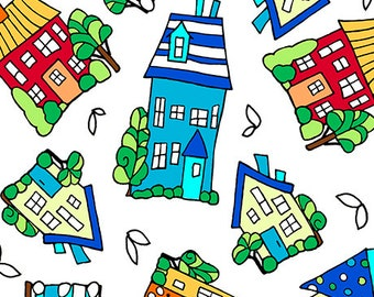 Fabric QT Quilting Treasures Kids Houses on the Hill  Tossed homes houses on white primary rainbow 26265-Z