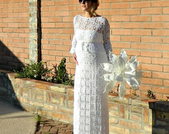 Maternity-Bridal Skirt-Lace Wedding Skirt-Wedding Separates-Two Piece Wedding Dress-Hand Crochet Lace Couture Maxi-Pregnant Bride Chic