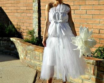 Tulle Skirt-Tulle Wedding Skirt-Tulle Wedding Dress-Long Tulle Skirt-Tina Tissue Linen Layered Tulle Modern Bride Chic
