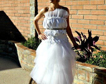 Wedding Dress-Unique Wedding Dress-Fairy Wedding Dress-Wedding Separates-Bonjour Ruffle Bubble Tulle Top-Couture Jeweled Lace Belt