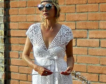 Couture Dress-Couture Wedding Dress-Couture Lace-Couture Gown-Hand Crochet Lace Couture-V Wrap Top & Skirt Pineapple Motif-LaDyLaDuke Bride