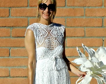 Crochet Lace Wedding Dress in Handmade-Boho Wedding Dress-Wedding Dress-Simple Wedding Dress-Bridal Separates-Je Suis Top-Hand Couture
