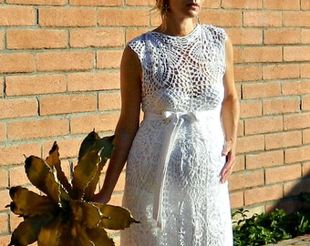 Maternity Wedding Dress Lace-Maternity Wedding Dress-Maternity Couture Lace Wedding Dress-Crochet Lace-Boat Top & Skirt Pineapple Motif