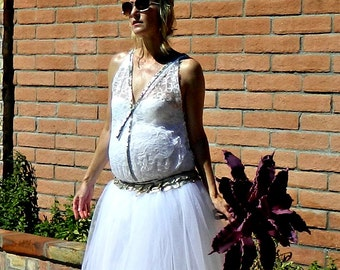 Maternity-1920s Wedding Dress-Vintage Dress-Vintage Wedding Dress-Wedding Separates-Herringbone Jeweled Lace Deep V Blouse-Bride Collection