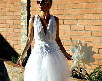 Deep V Wedding Dress-Wedding Dress-Lace Wedding Dress-Handmade-Karen Couture Lace Deep V Top with Under Top-Bride Collection