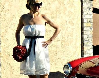 Short Wedding Dress-Casual Wedding Dress-Simple Wedding Dress-Unique Wedding Dress-Organza Gathered Wrap Dress-Lulu Style Modern Bridal