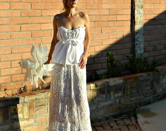 Boho Wedding Dress-Lace Wedding Dress-Bohemian Wedding Dress-Bohemian Dress-Top-Skirt-Hand Crochet Lace Couture Maxi-Bride Collection