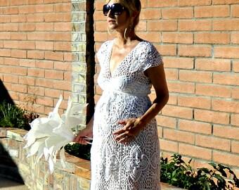 Maternity Deep V Neck-Deep V Dress-Deep V Neck Dress-Wedding Dress Separates-Crochet Lace Lyon Top-Chic Pregnant Bride-Hand Couture