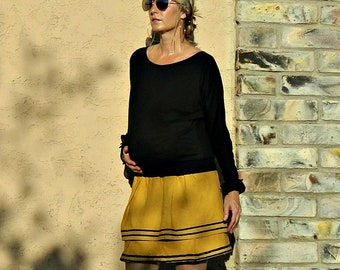 Maternity Circle Skirt-Midi Skirt-Full Circle Skirt-Full Skirt-Womens Skirts-LaChicSew Womens Clothing-Ribbon Detail Valentina Skirt