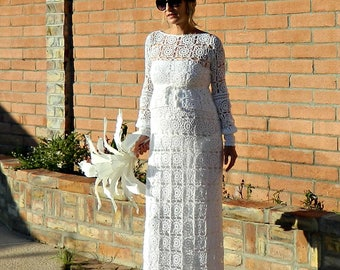 Long Sleeve Wedding Dress-Long Sleeve Lace Wedding Dress-Long Sleeve Dress-Hand Crochet Lace Couture Maxi with Blouse-Pregnant Bride Chic