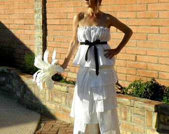 30s Wedding Dress-40s Wedding Dress-50s Wedding Dress-Bride Clothes-Rochelle One of a Kind Layered-Ruffled Taffeta Wrap Skirt